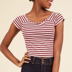 Modcloth Roller Derby Date Striped Top